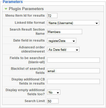 CB Search Parameters